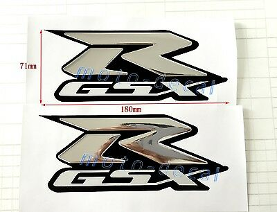 $18.98 • Buy Raised 3D Chrome For GSXR1000 750 600 Silver Decals Emblem Fairing Sticker Bling