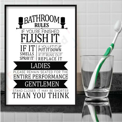 Bathroom Rules Print Toilet Sign Picture Funny WC Humour WordArt Wall Poster  • 5.99£