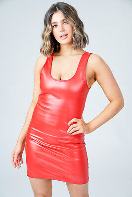 £14.92 • Buy Plus Size Pvc Micro Mini Dress Red Short Fitted Leather Shine Pencil Dresses