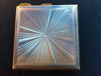 Beautiful Blue Guilloche Silver Compact 1947 • 165£