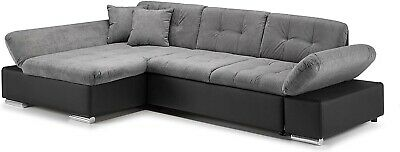 Sofa Malvi - Corner Sofabed & Storage - Fabric/Leather - Black/Grey & White/Grey • 669£