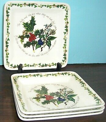 4 Portmeirion The Holly & The Ivy Square Plates 8.5  Never Used Free Us Ship  • 69.99$