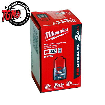 AU56.50 • Buy Genuine Milwaukee M12 12V Li-ion Lithium-Ion 2.0Ah M12B2 Battery Au Stock