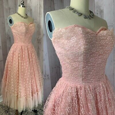 £49.60 • Buy 1950s Vintage Crinoline Dress/Gown ANGELO Cupcake Pinup Rockabilly Lace XS/S