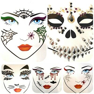 Halloween Face Stickers Temporary Tattoo Eye Party Glitter Gems Jewels Stitches • 3.49£
