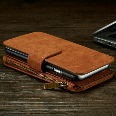 Case For IPhone Models Zip Coin Purse Card Slot Flip Leather Wallet Phone Cover • 13.99£