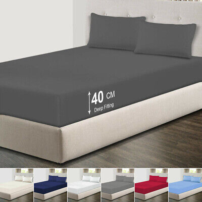 £5.80 • Buy Extra Deep 40cm Fitted Bed Sheets For Bedroom Single Double King Super King Size