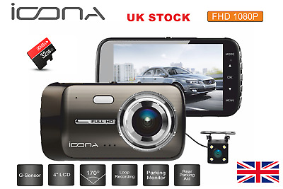 ICONA R820 4  Dash Cam Front And Rear 1080P HD *Free 32GB SD Card* • 39.95£