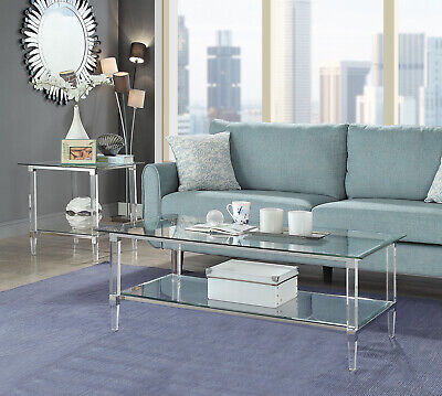 $241.48 • Buy End Table In Clear Acrylic Chrome & Clear Glass - Acrylic Metal Glass 318989
