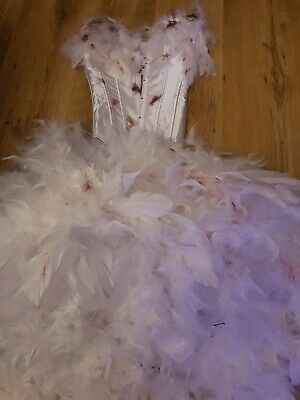 Sexy Feather Corset Gown Zombie Swan Lake Bride  Corpse Costume Cosplay  • 70£