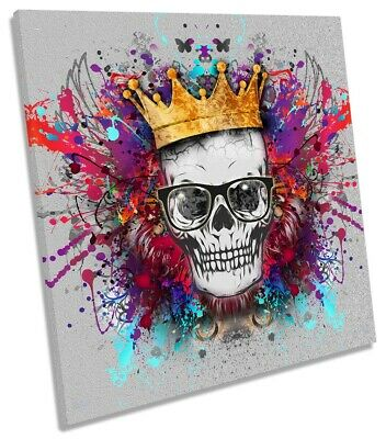 £31.99 • Buy Skull Crown Explosion Picture CANVAS WALL ART Square Print Multi-Coloured