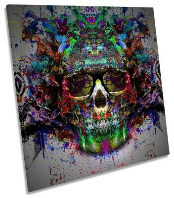 Urban Skull Abstract Picture CANVAS WALL ART Square Print Multi-Coloured • 31.99£