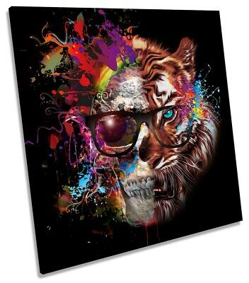 Tiger Skull Sunglasses Picture CANVAS WALL ART Square Print Multi-Coloured • 24.99£