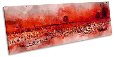 £34.99 • Buy Tree Modern Landscape Abstract Picture PANORAMA CANVAS WALL ART Print Red