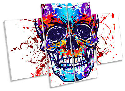 Skull Graffiti Face Picture CANVAS WALL ART Four Panel Multi-Coloured • 84.99£