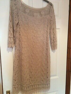£7 • Buy Kaliko Ladies Nude Lace Lined Dress Size 10