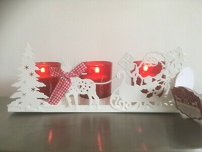 Christmas Themed Candleholder Mantelpiece Or Table Lovely In The Dark • 7.20£