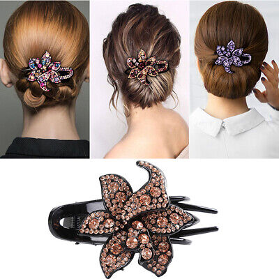 $2.62 • Buy Women's Crystal Hair Clips Slide Flower Hairpin Pins Comb Hair Grips Accessories