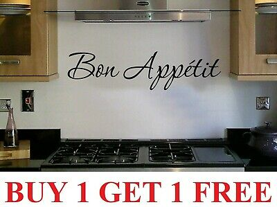 2 Wall Art Sticker Quote Kitchen Bon Appetit Family Dining Home Decor Decal • 5.99£