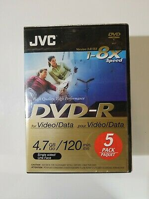 £13.16 • Buy JVC 5-Pack 16x High Speed DVD-R Recordable DVD's 120 Min, 4.7 GB Factory Sealed
