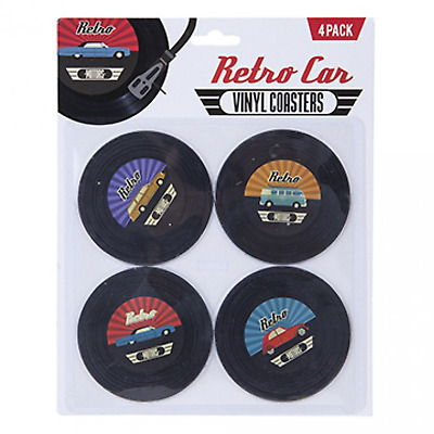 Retro Cars Vinyl Records Coasters Beer Place Mats Fun Xmas Stocking Filler Gift • 2.99£