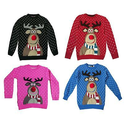 Kids Xmas Jumper RUDOLPH POM POM Boys Girls Retro Vintage Christmas Sweater Tops • 7.99£