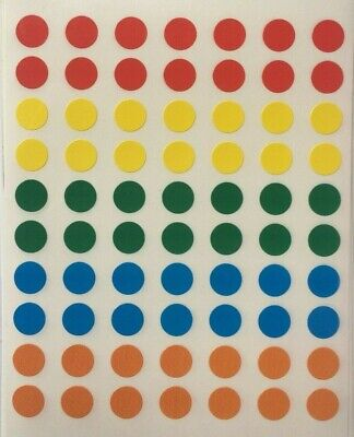 210 Small Round Coloured Sticky Dots 8mm Circles Stickers Labels Spots Planner • 1.79£