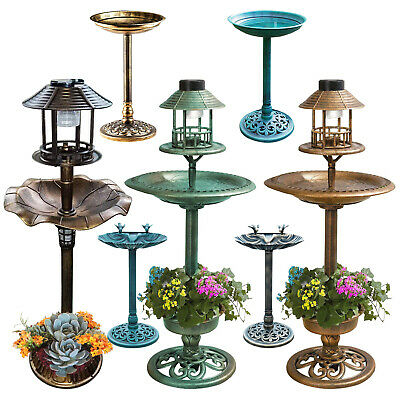 £29.89 • Buy Bird Bath Feeder Bowl With Solar Light Garden & Patio Bird Feeding Table Station