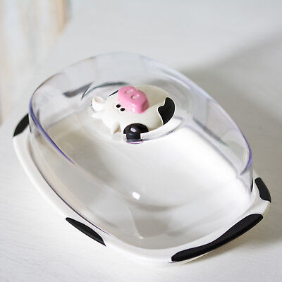£9.99 • Buy Plastic Butter Storage Dish With Lid Novelty Cow Farm Serving Bowl Dining Table