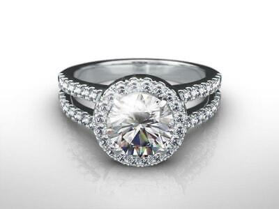 $ CDN3287.59 • Buy Diamond Engagement Ring Halo 2 Ct Two Carat Round Cut D Vs2 14k White Gold Gift