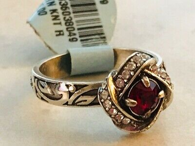 BRIGHTON Eternity Knot Ring Ruby Red Crystals Silver Size 5,6 & 9 Ret $56  NEW   • 20.99$