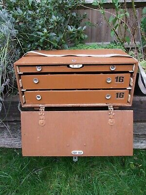 Vintage Wooden Collectors Drawers Specimen Chest Case Portable Storage  (1) • 55£
