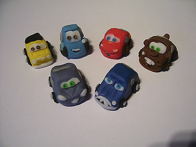 LIGHTNING MCQUEEN AND CARS Set Of 6 Edible Cake Cupcake 3-D Decorations  • 11.50£