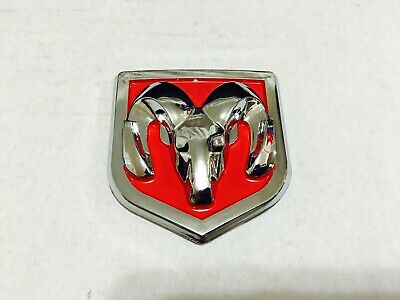 $11.99 • Buy 1 Pcs, Dodge Ram Head Badge Front Or Rear Red Chrome 60 X 65 MM / 2.36 X 2.56