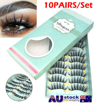 AU4.98 • Buy 10 PAIRS Luxurious 3D False Eyelashes Mink Makeup Long Cross Soft Lashes Set AU