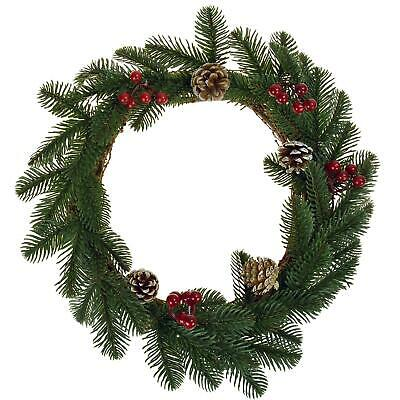 Christmas Hanging Wreath Natural Pine Berry Xmas Festive Garland Fireplace Door • 7.89£