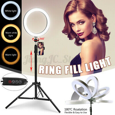 AU54.99 • Buy 10'' Dimmable LED Ring Light Video Phone Holder Tripod Stand For Youtube Makeup