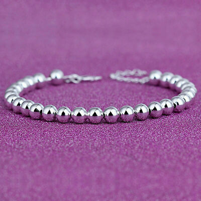 Women 925 Sterling Silver Beads Smooth Chain Bangle Charm Bracelet Fashion TB • 5.73$