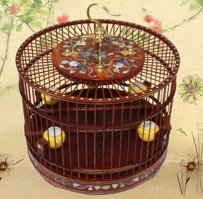 $285 • Buy Asian Bird Cage Rosewood Round Pet Nest Home Shell Inlay Craft High End