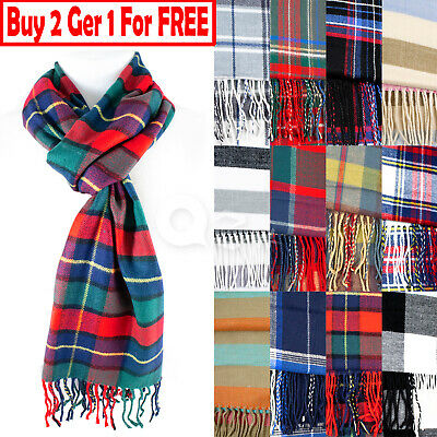 $6.89 • Buy Mens Womens Winter Warm SCOTLAND Made 100% CASHMERE Scarf Scarves Plaid Wool