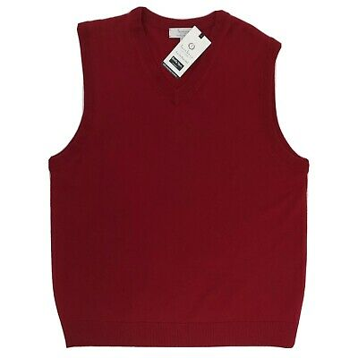 $29.99 • Buy Turnbury Fine Merino Wool Solid Red Holiday Christmas Sweater Vest Men's  Large