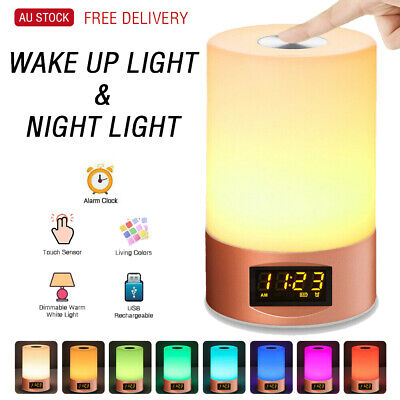 AU31.95 • Buy Rechrgeable  LED Night Light Wake-up Light Alarm Clock  LED Touch Sleeping Lamp