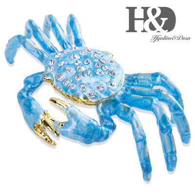 $14.76 • Buy H&D Sea Blue Crab Jewelry Trinket Box Bejeweled Treasures Decorative Collectible