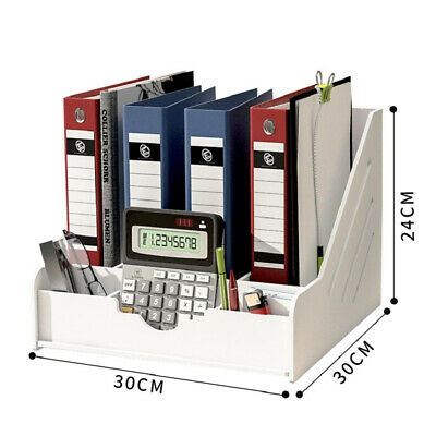Vertical Files Storage Box Letters Books Holder PVC White 4-Section • 24.35£