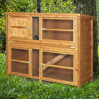 4ft Chartwell Double Decker XL Rabbit Hutch Guinea Pig Cage Wood Deluxe Pet Home • 134.99£