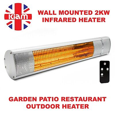 2KW Outdoor Electric Patio Heater Garden Wall Mounted Infrared Waterproof • 59.95£