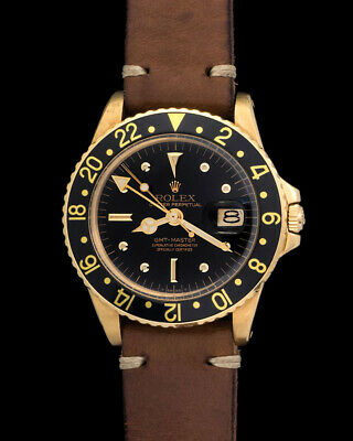 $ CDN34722.04 • Buy Rolex GMT-Master 1675 Nipple Dial In Yellow Gold Case On Leather Strap