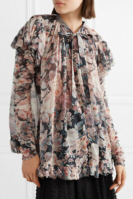$225 • Buy ZIMMERMANN Tempest Frolic Ruffle Floral-Print Silk-Georgette Pussy-Bow Top 1/6