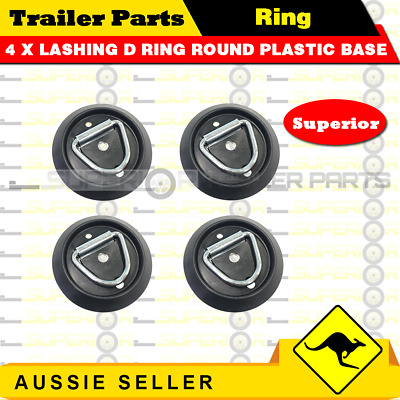 AU18 • Buy 4 X Lashing D Ring Round Plastic Base Tie Down Points Rings Anchor Ute Trailer