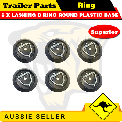 AU26 • Buy 6 X Lashing D Ring Round Plastic Base Tie Down Points Rings Anchor Ute Trailer